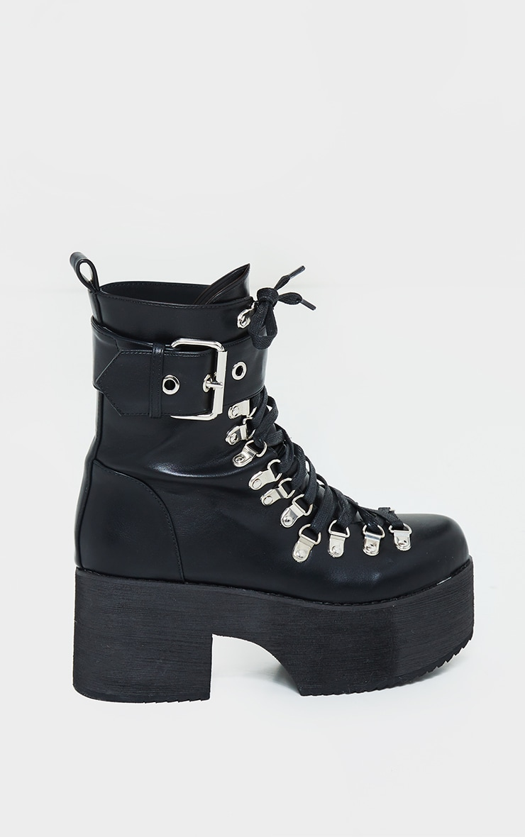 Black Buckle Lace Up Detail Eyelet Platform Heeled Boots 3