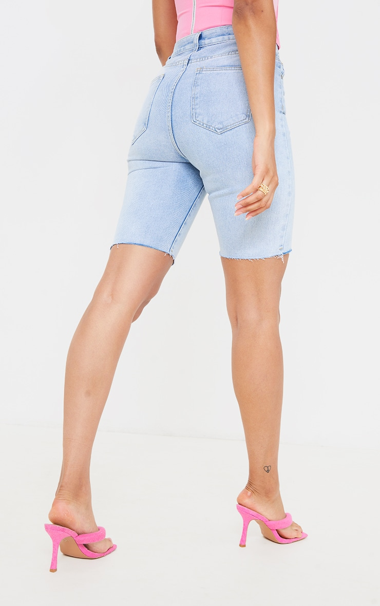 Light Blue Wash Asymmetric Waist Longline Denim Shorts 3