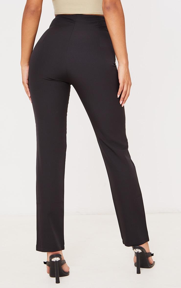 Black High Waisted Seam Detail Straight Leg Pants 3