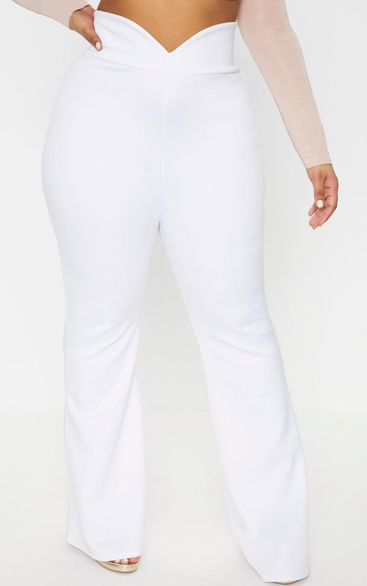 Plus White Scuba Curve Waist Band Detail Flared Pants  2