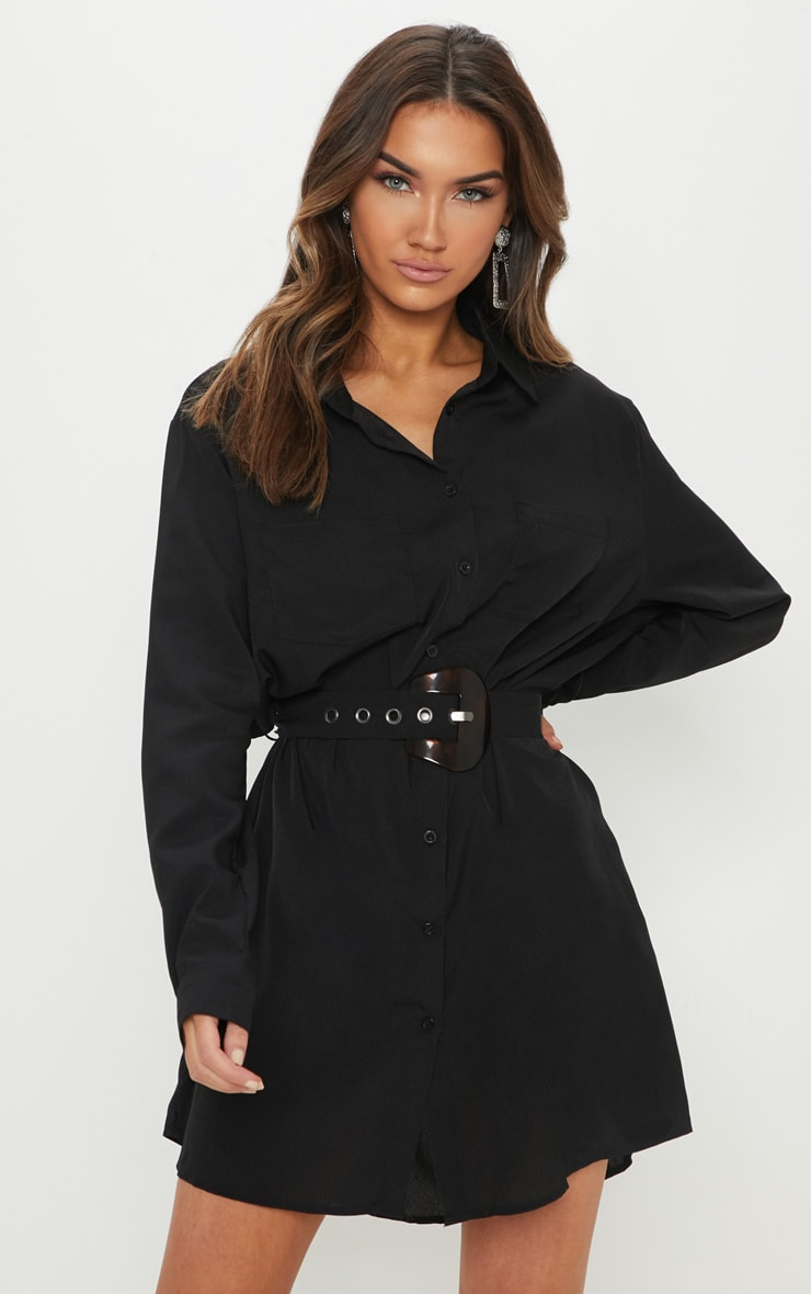 Black Tortoise Shell Belted Utility Shirt Dress 4