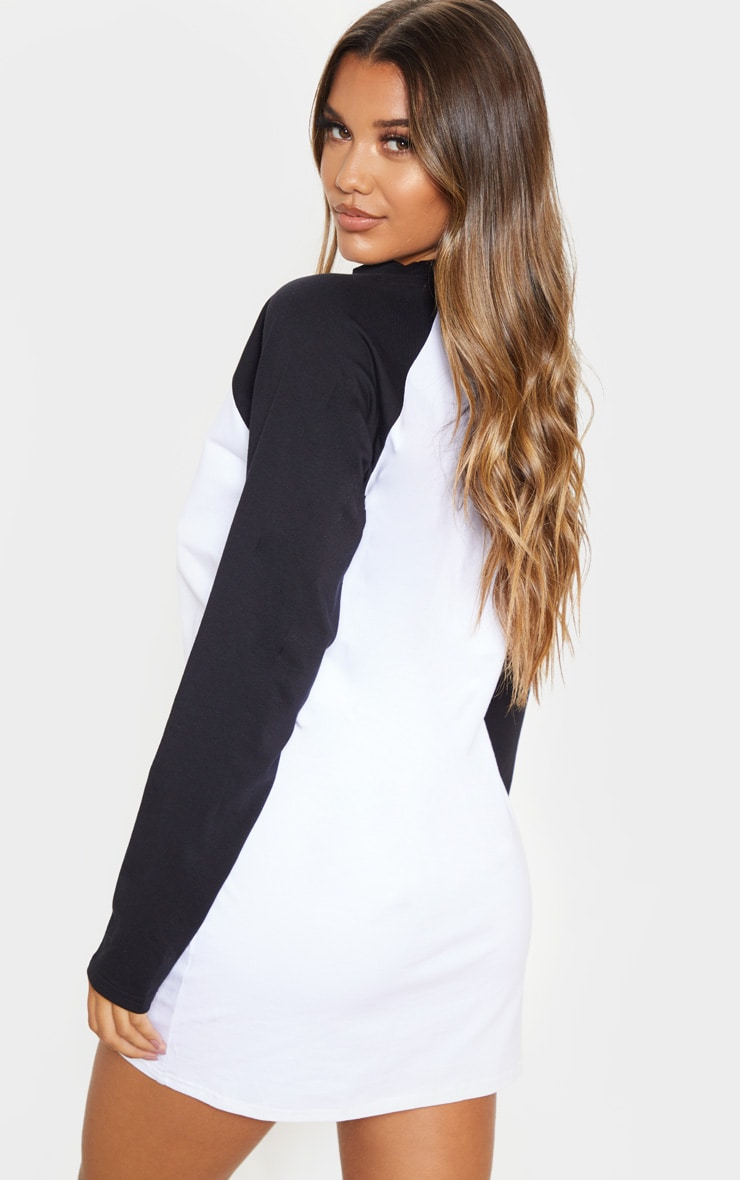 White Contrast Raglan Long Sleeve T Shirt Dress 2