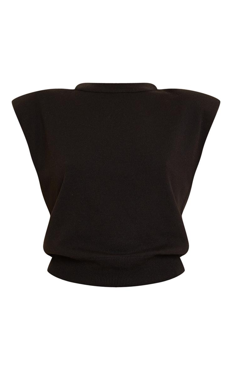 Black Shoulder Pad Knitted Soft Top 5