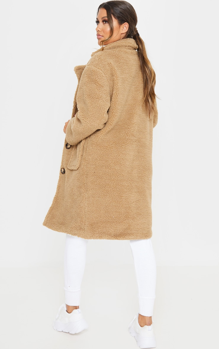 Manteau long camel en imitation peau de mouton 2