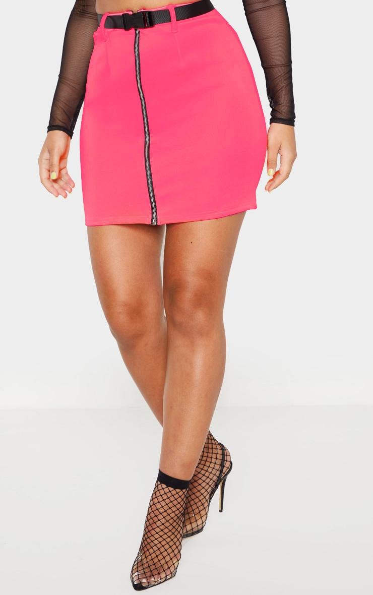 Neon Pink Zip Front Belted Mini Skirt  2