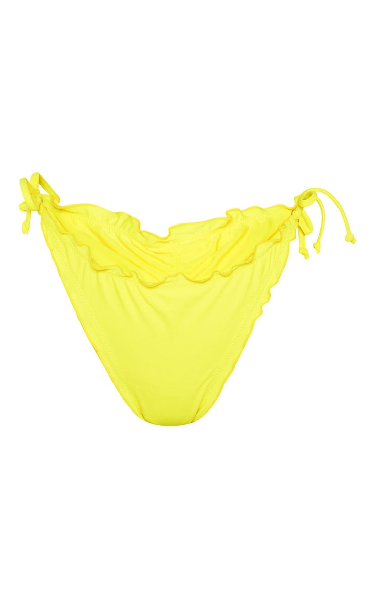 Yellow Frill Edge Ruched Back Bikini Bottom 6
