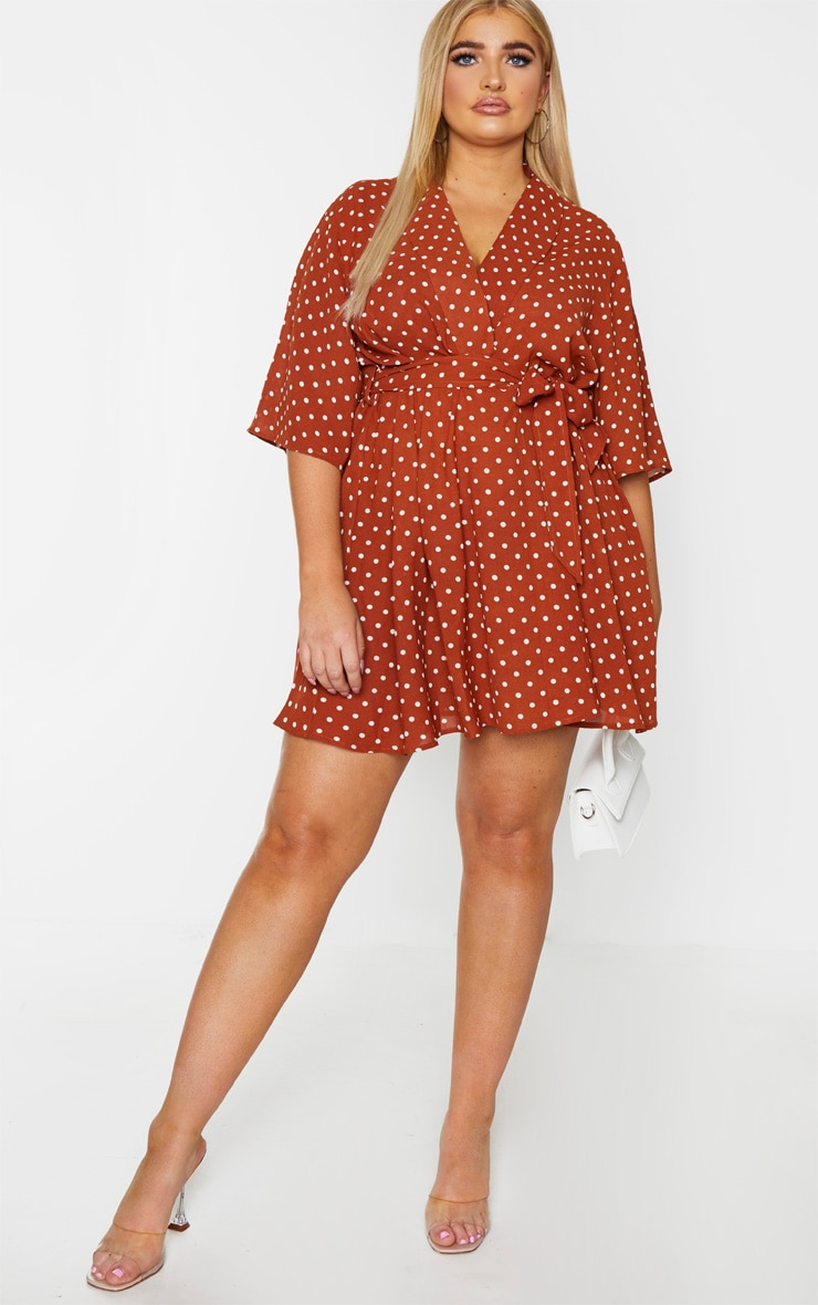 Plus Terracotta Polka Dot Tea Dress 3