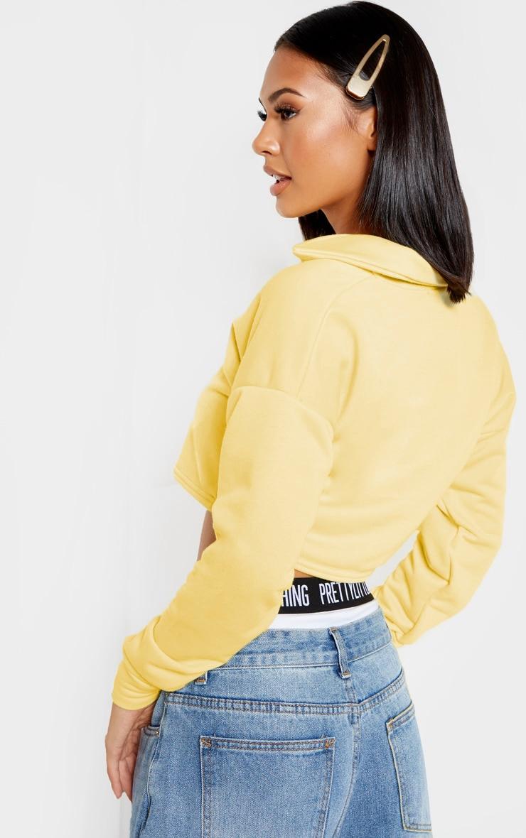 Lemon Collar Polo Long Sleeve Crop Top 2
