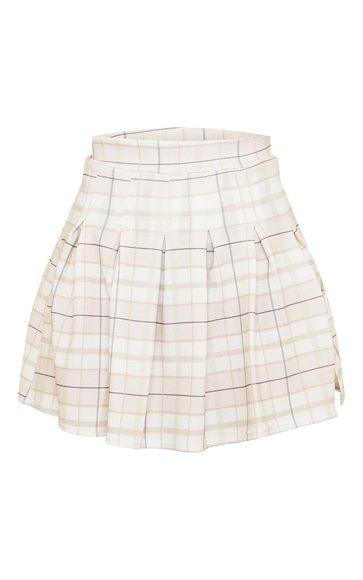 Petite Stone Check Crepe Tennis Skirt 6