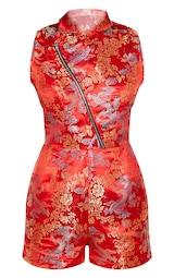 Red Oriental Zip Detail Romper 3