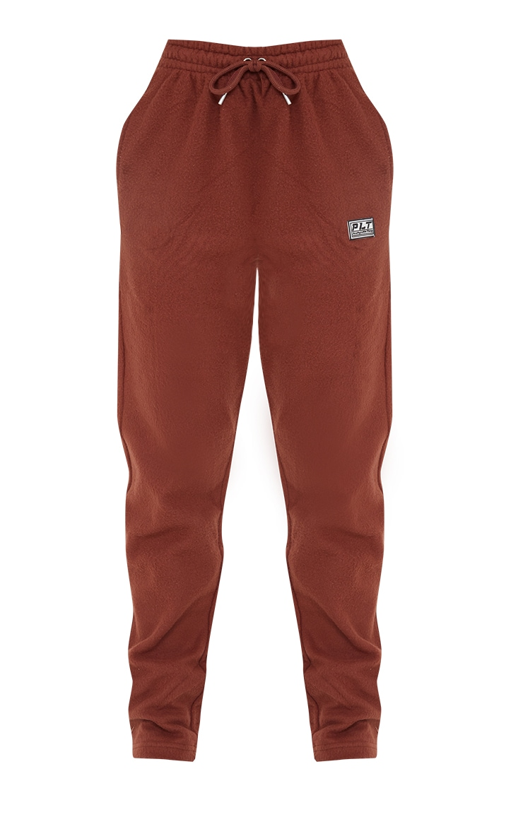 PRETTYLITTLETHING Chocolate Brown Soft Touch Badge Detail Straight Leg Joggers 5