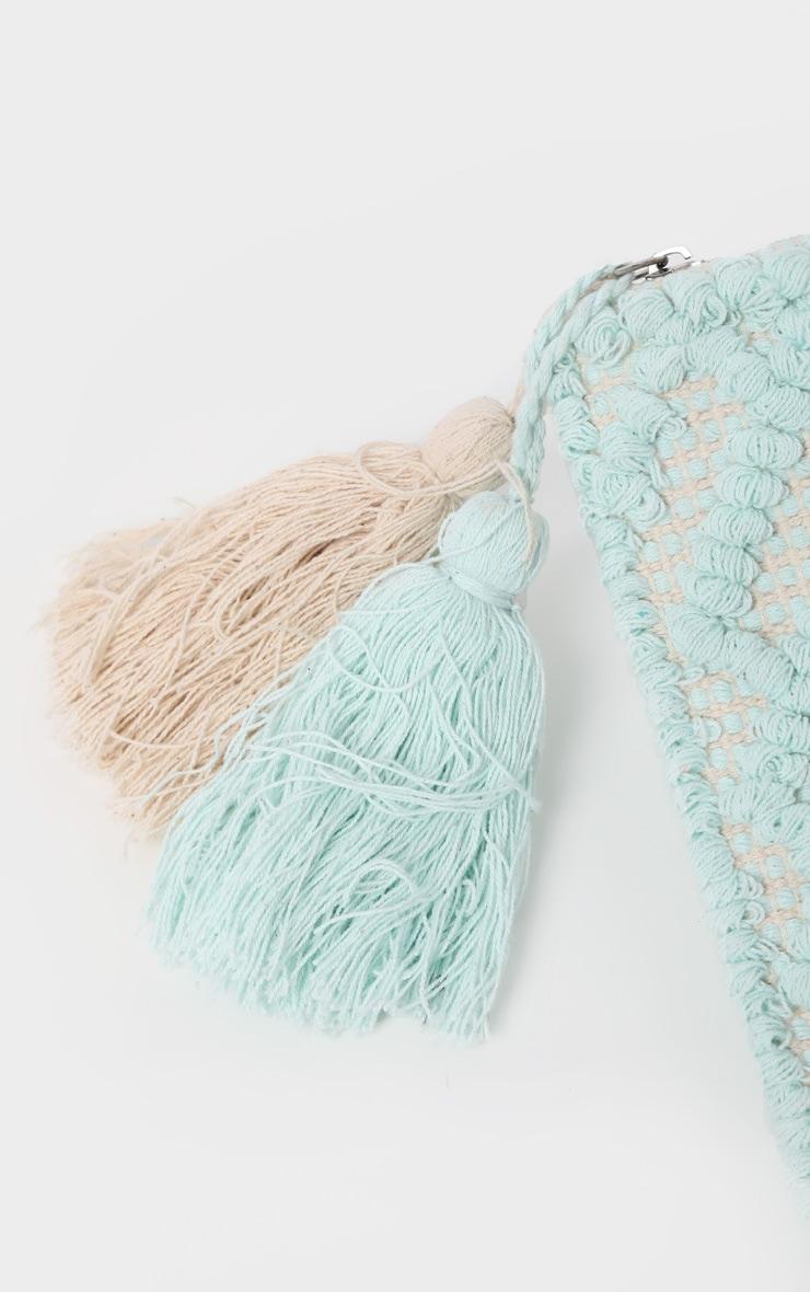 Mint Cotton Tassel Detail Clutch Bag 4