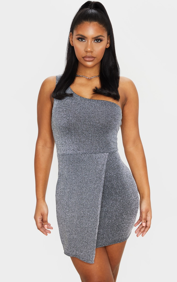 Silver Glitter One Shoulder Pleat Detail Bodycon Dress 1