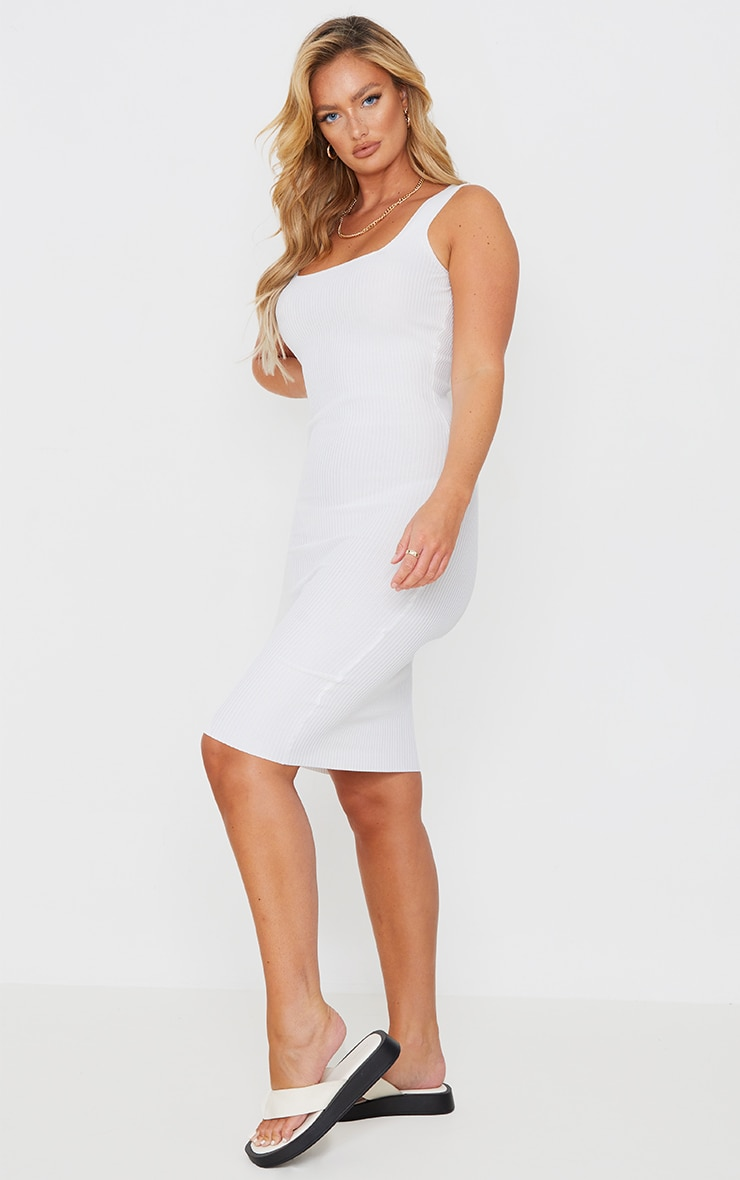 White Square Neck Low Back Knitted Midi Dress 3
