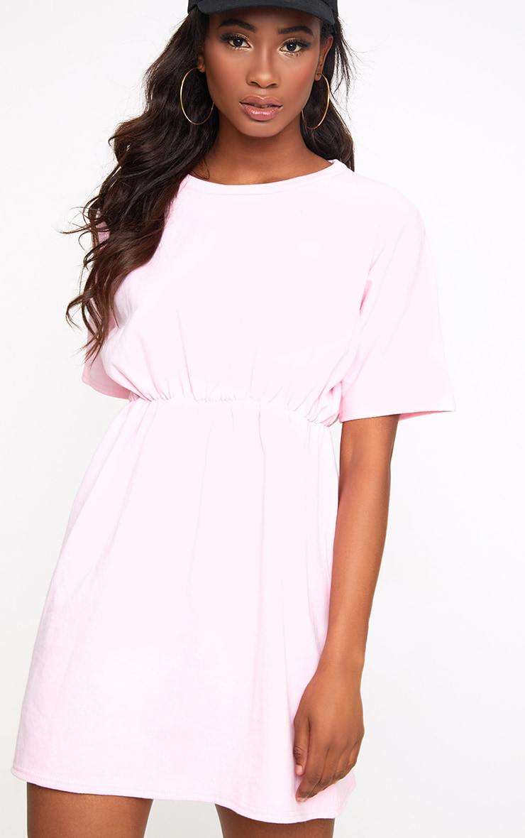 Baby Pink Waist Detail Sweater Dress  1