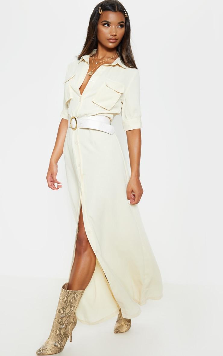 Cream Short Sleeve Maxi Shirt Dress  4