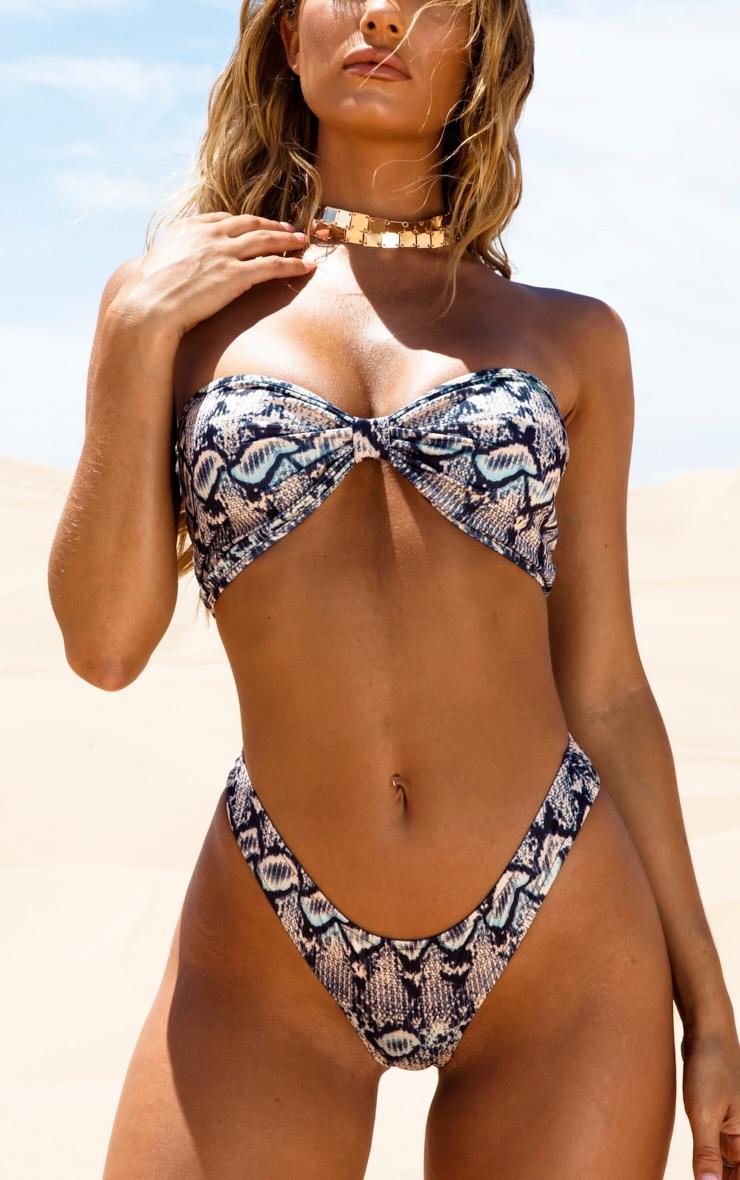 Brown Snake High Leg Bikini Bottoms 1