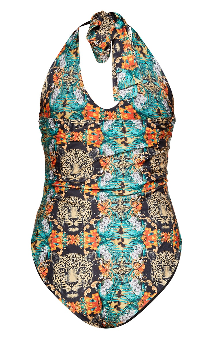 Plus Green Tropical Leopard Plunge Swimsuit 3