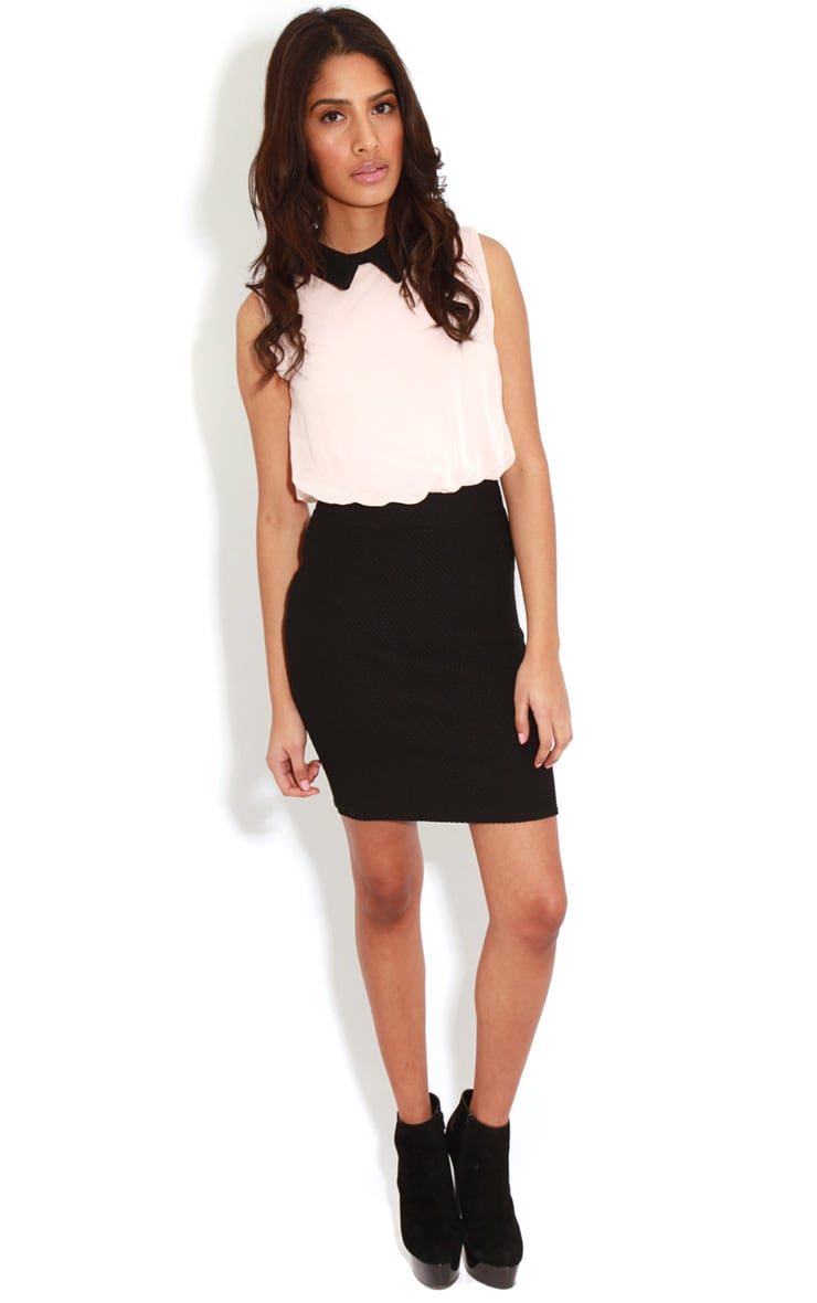 Aaliyah Nude Chiffon Collar Dress  3