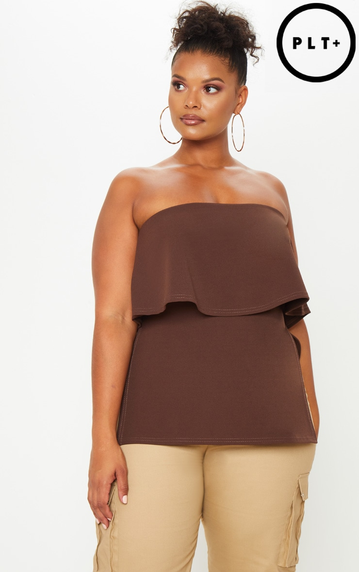 Plus Chocolate Brown Bandeau Frill Overlay Top 1