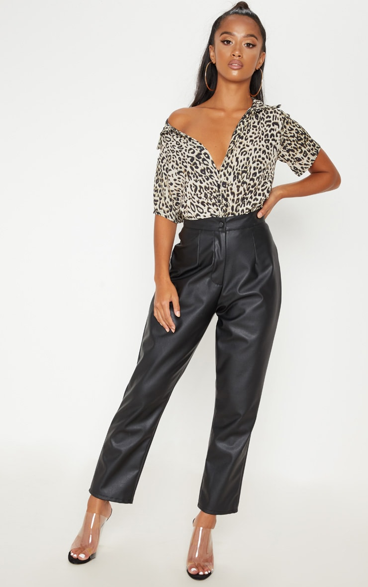 Petite Brown Leopard Print Cropped Shirt  3