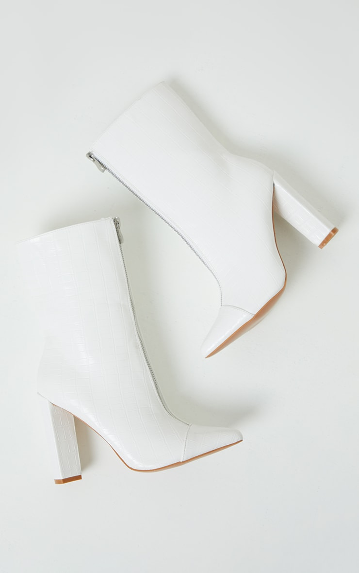 White Zip Front High Block Heeled Ankle Boots 3