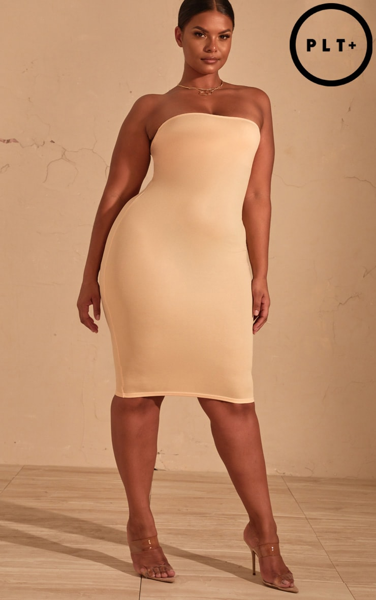 Plus Cream Bandeau Midi Dress 1