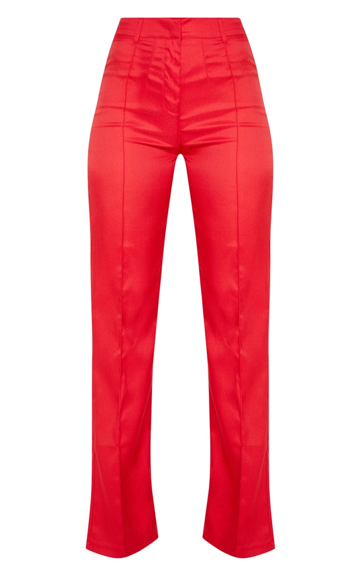 Red High Waisted Straight Leg Trousers 3