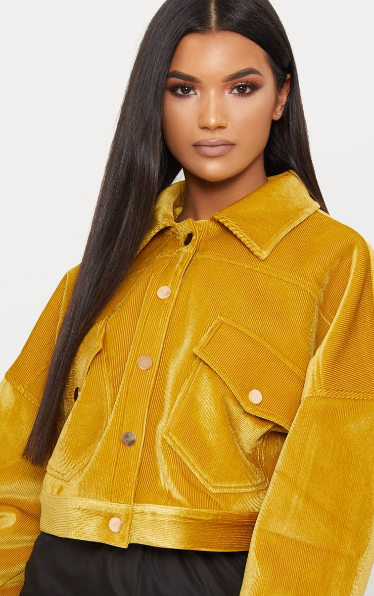 Mustard  Cord Oversized Trucker Jacket 4
