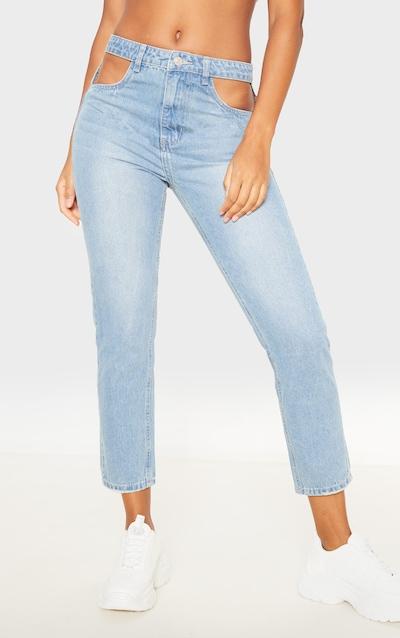 Light Wash Cut Out Waist Straight Leg Jeans