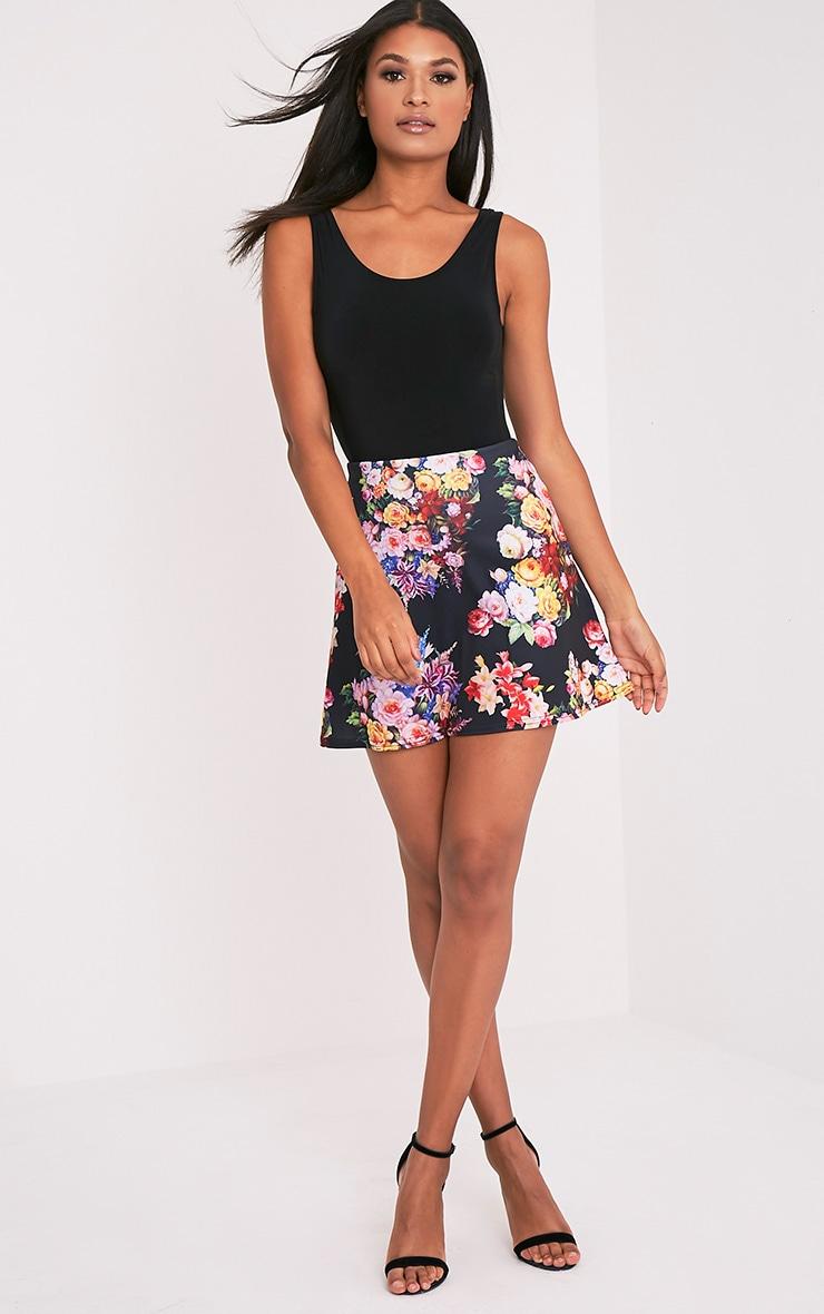 Tamira Black Floral A-Line Mini Skirt 6