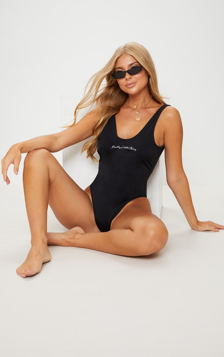 PRETTYLITTLETHING Black Embroidered Swimsuit 1