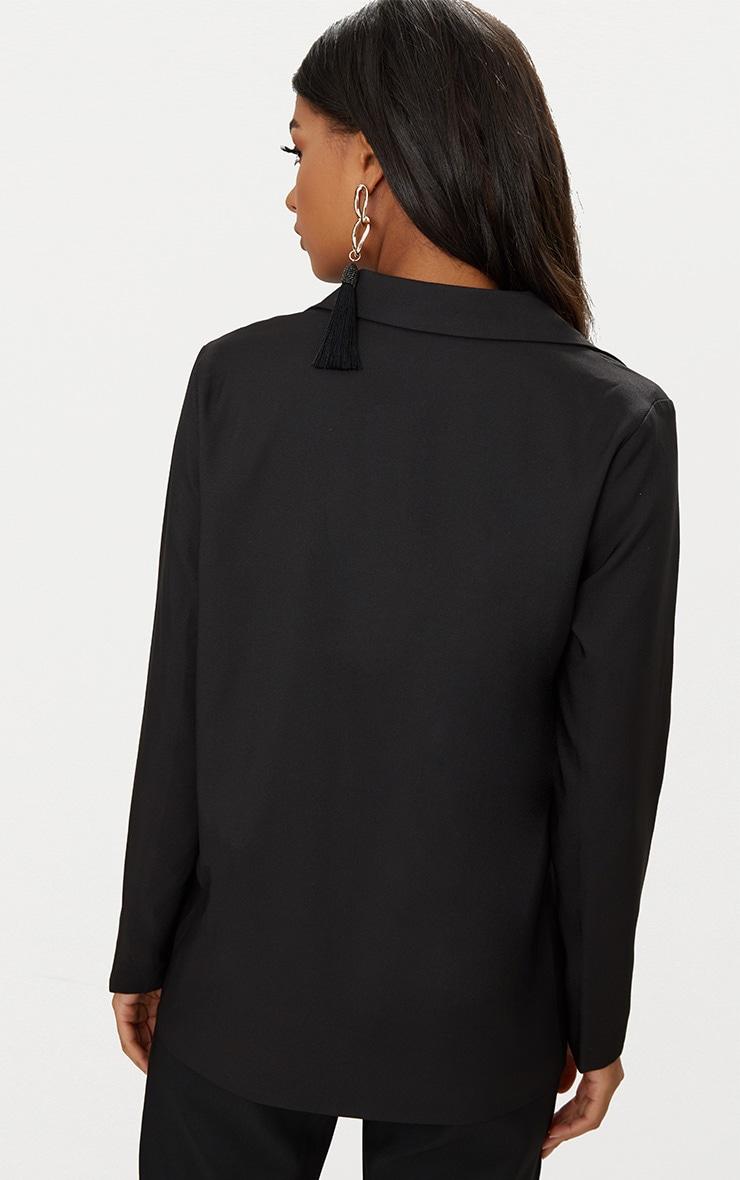 Black Oversized Boyfriend Fit Woven Blazer 2