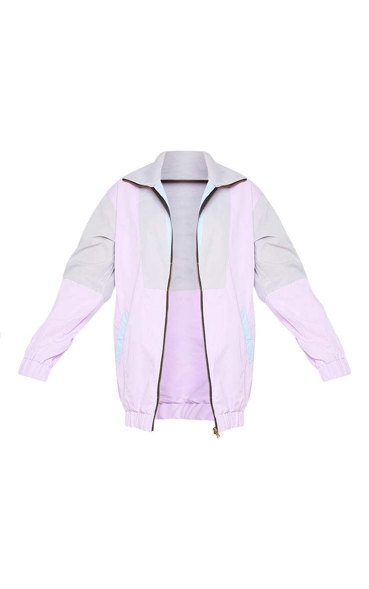 Lilac Colourblock Longline Elastic Hem Tracksuit Jacket 5
