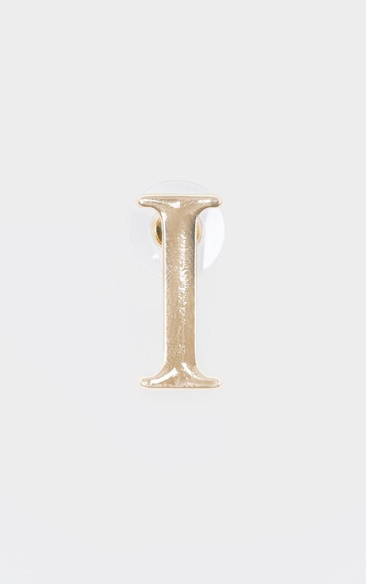 Boucles d'oreilles dorées à clou lettre I 3