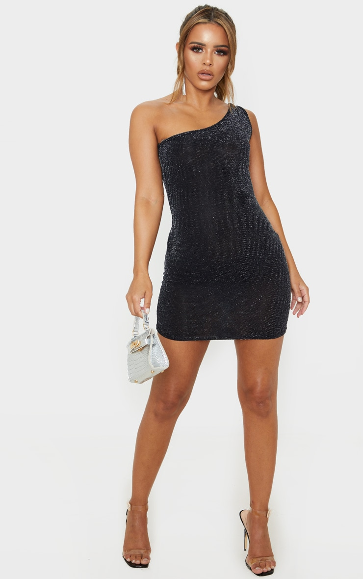 Petite Black One Shoulder Textured Glitter Bodycon Dress  4