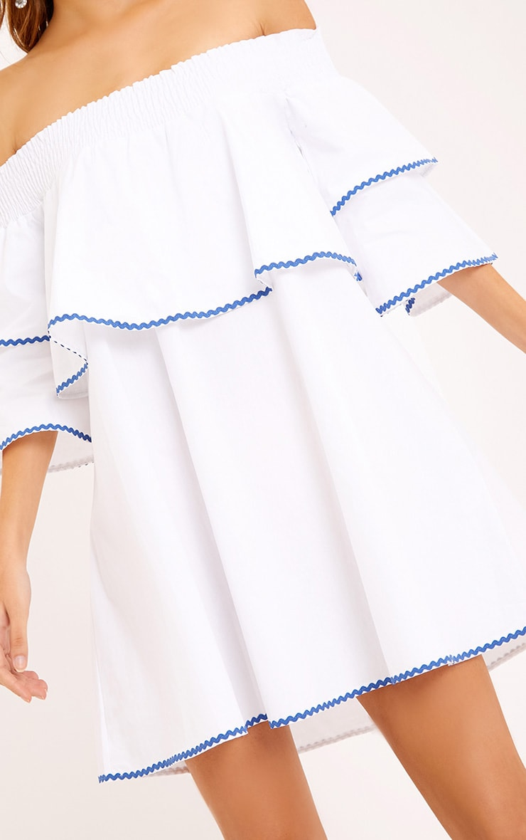 Cecillia Ruffle Blue Embroidered Shift Dress White 5