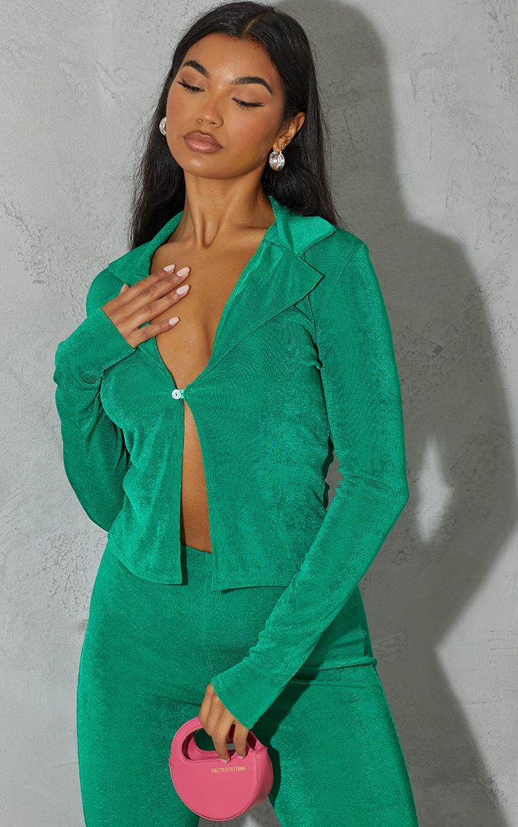 Bright Green Recycled Slinky Acetate Collar Detail Button Up Long Sleeve Top 1