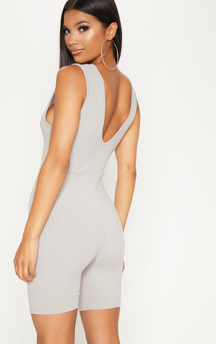 Grey Ribbed Plunge Sleeveless Unitard 2