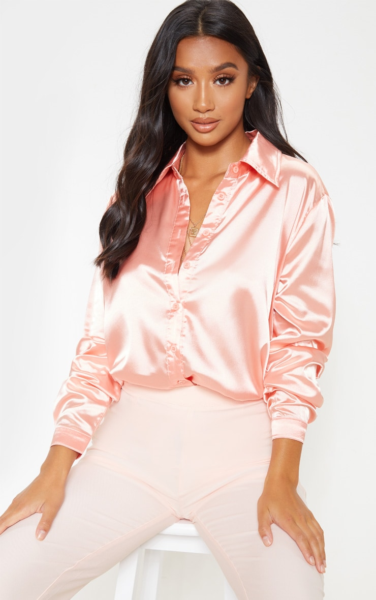 Petite Peach Satin Button Up Shirt 1