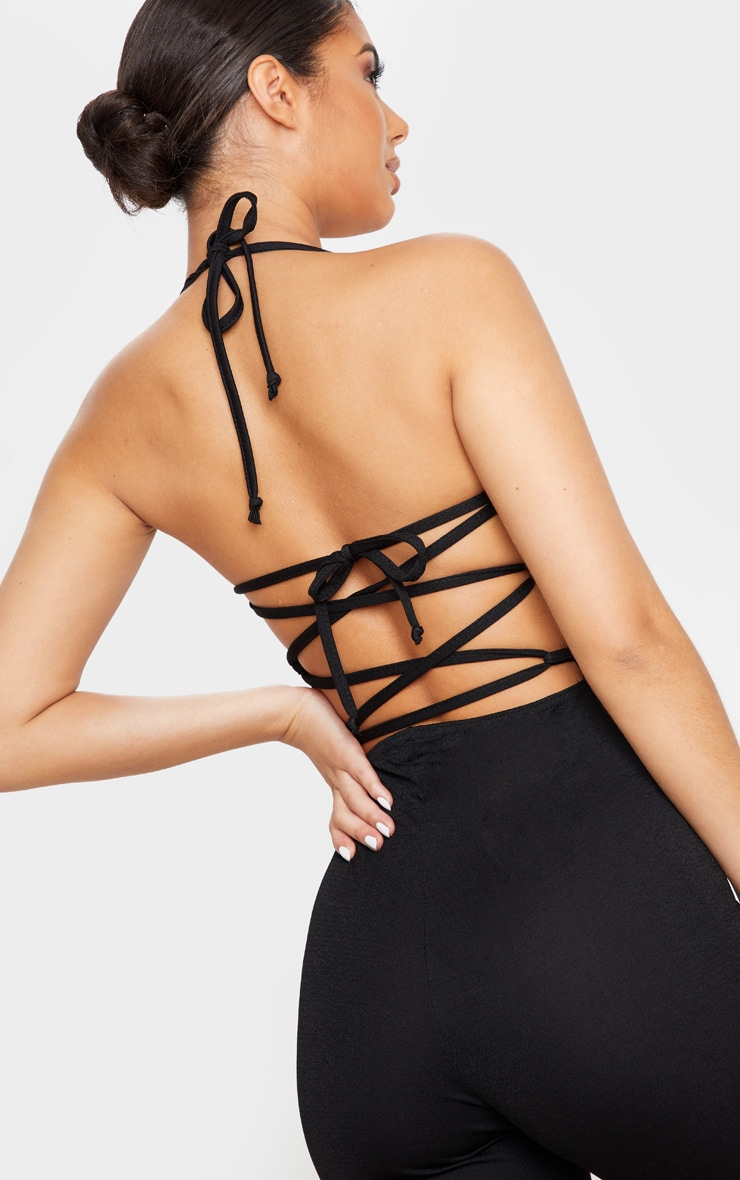 Black Strappy Back Split Hem Jumpsuit 5