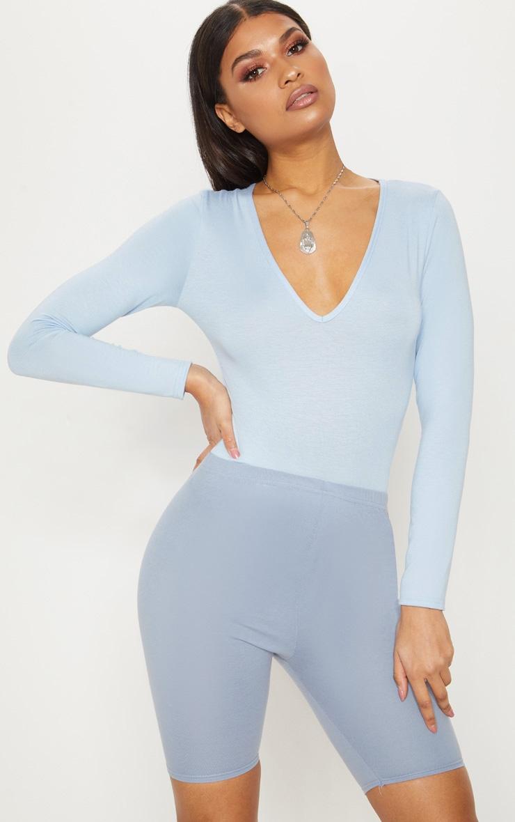 Basic Baby Blue V Neck Long Sleeve Bodysuit 1