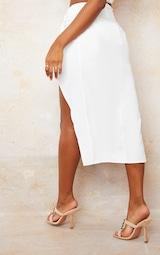 White Woven Knot Waist Split Leg Midaxi Skirt 3