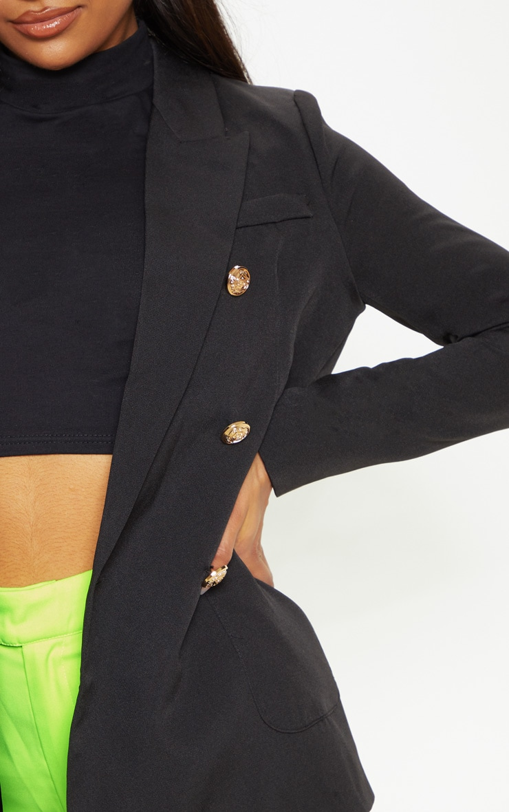 Black Double Breasted Military Style Woven Blazer 5