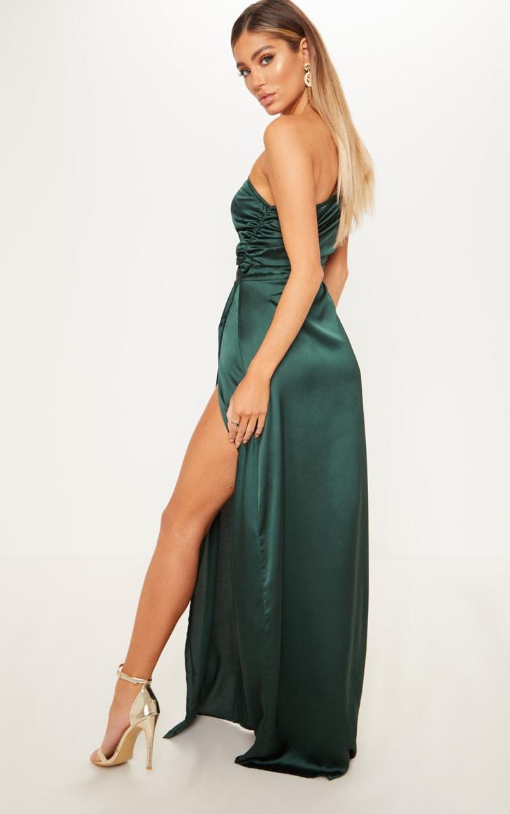 Emerald Green One Shoulder Satin Ruched Maxi Dress