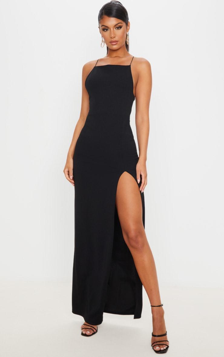 Black Straight Neck Cross Back Maxi Dress