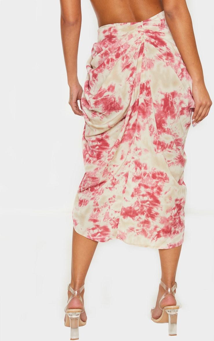 Fuschia Tie Dye Ruched Side Midi Skirt 4