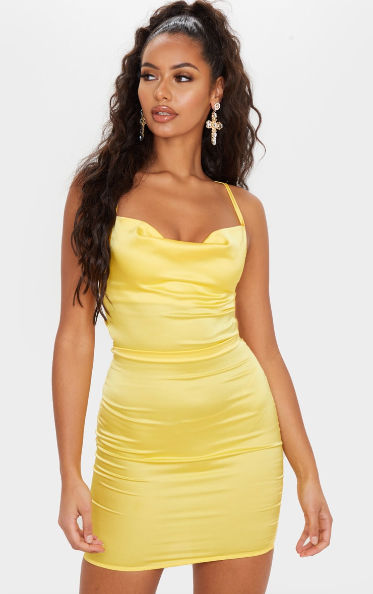 Lemon Stretch Satin Lace Up Back Cowl Neck Bodycon Dress 1