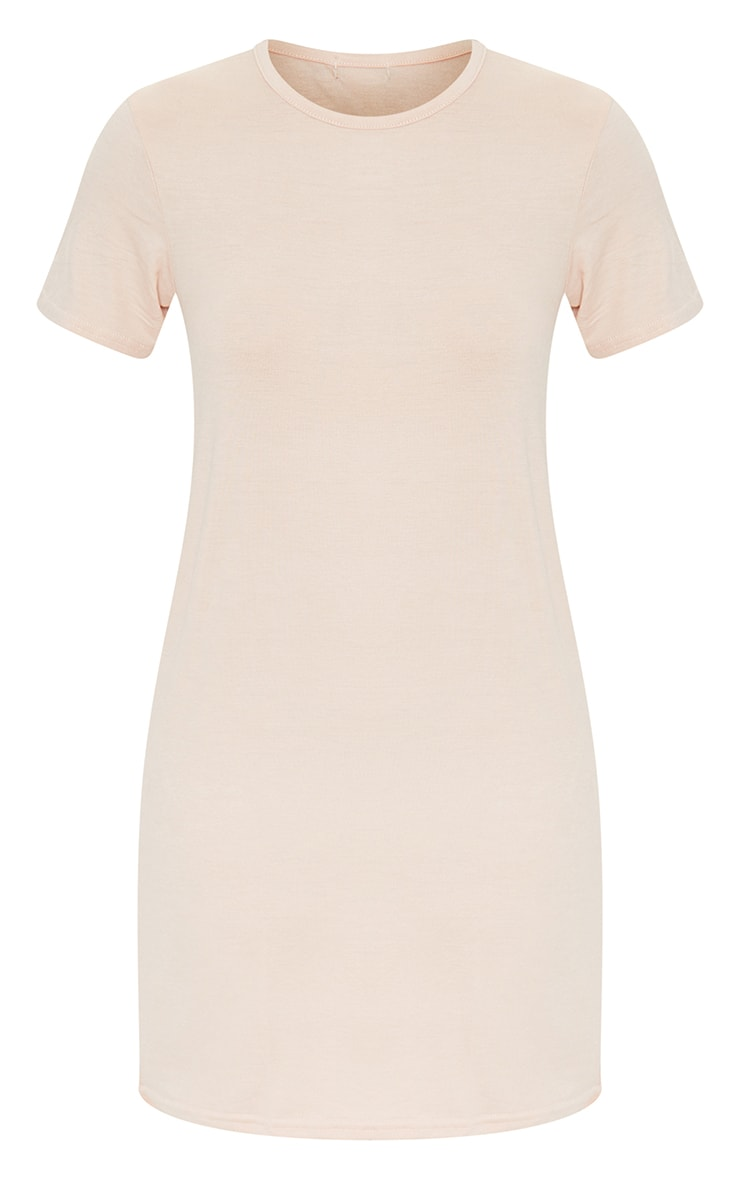 Nude Basic Short Sleeve Round Neck T Shirt Dress 5