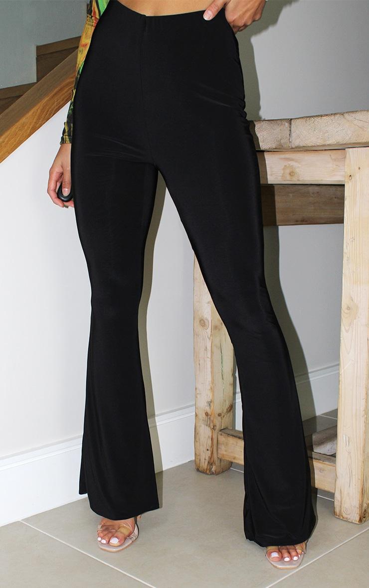 Petite Black Flare Ruched Bum Slinky Pants 2